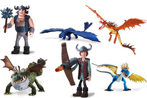 action figures from the Dreamworks movie How to Train Your Dragon